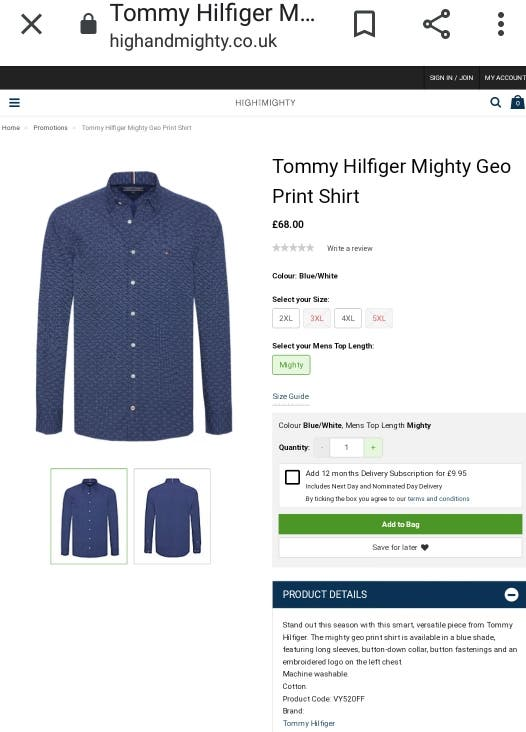 RRP£90 Tommy Hilfiger Mighty Geo Print Shirt