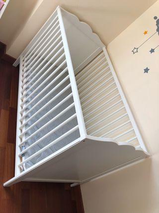Cuna blanca 60x120 con colchón 2 caras