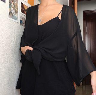 Kimono negro transparente