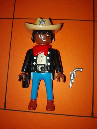 Playmobil figura oeste negrito vaquero pistolero