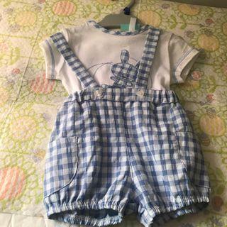 Conjunto rana y blusa bebé Azul