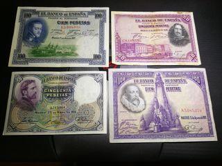 lote de 4 billetes españoles años 20 y 30