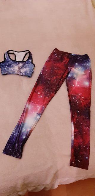 conjunto leggins + sujetador galaxia
