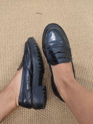 Mocasin / zapato plano mujer negro