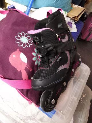patines de lunes y bolsa de niña