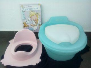 Orinal bebé duE + adaptador wc + libro Voy al baño