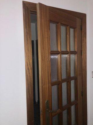 Puerta maciza madera/cristal (2unidades)