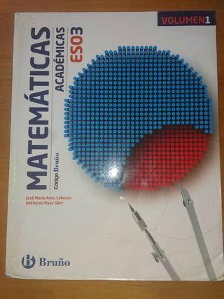 Libro de Matemáticas académicas, 3ESO, Bruño.