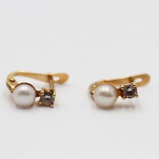 Pendientes infantiles de oro con perla E333770C