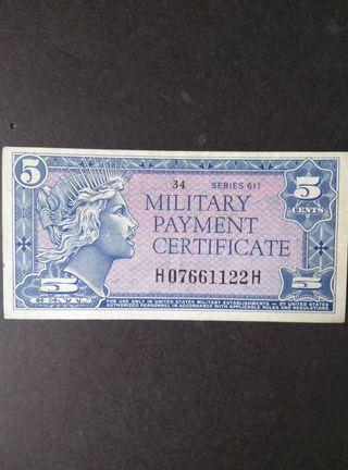 Billete de EEUU 5 cents. EBC