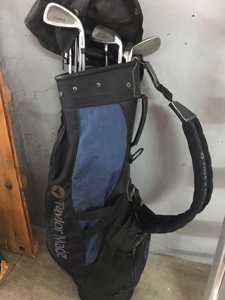 Conjunto palos de golf, carrito, bolsa y zapatos