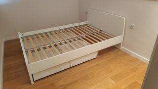 Estructura de cama 140x200 cm con somier de lamas