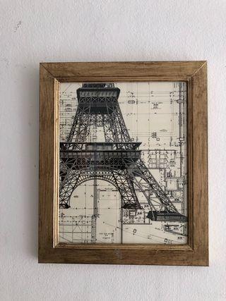 Cuadro dorado Torre Eiffel 25 x 30