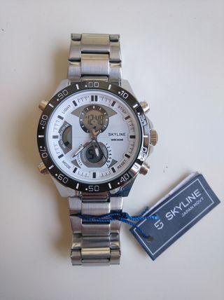 Reloj pulsera plateado blanco analógico y digital