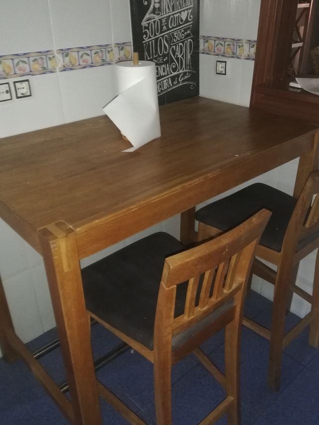 mesa madera 4 taburetes