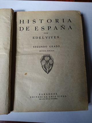 libro antiguo de Historia de España, año 1939