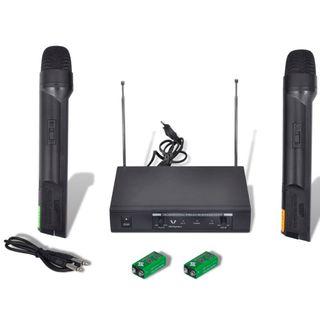 Receptor con 2 microfónos inalámbricos VHF
