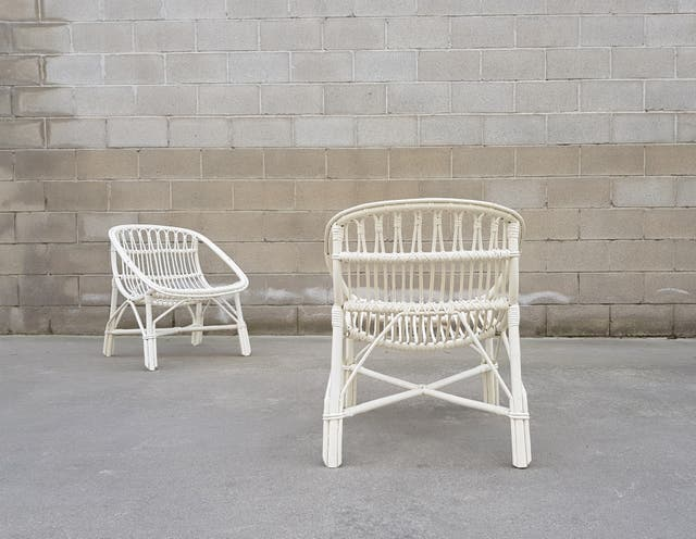 Pareja sillones bambu estilo huevo. Vintage, 70s.