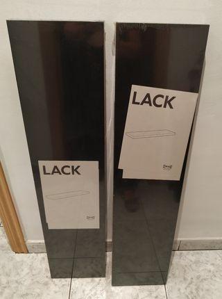 2 estantes pared negro-marron 110x26 cm NUEVOS