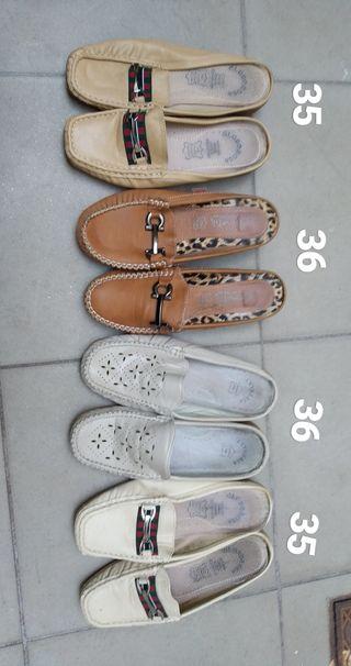 zapatos mocasines destalonados mujer