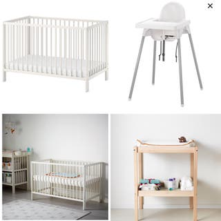 Cuna + cambiador + trona IKEA + incluy accesorios