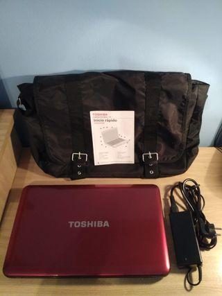 Portatil Toshiba Satellite rojo+ maletín+ cargador