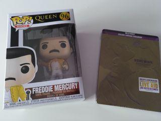 Bohemian Rhapsody Blu-ray y funko Freddie Mercury