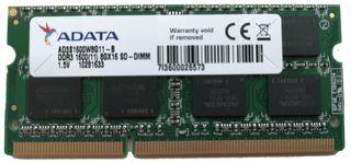 Memoria RAM 8GB DDR3 1600 MHz 204 pin Adata AD3S16