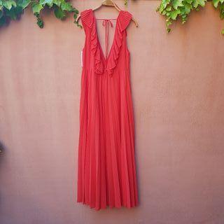 Vestido rojo plisado Zara