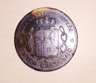 Moneda de 5 céntimos 1879 OM