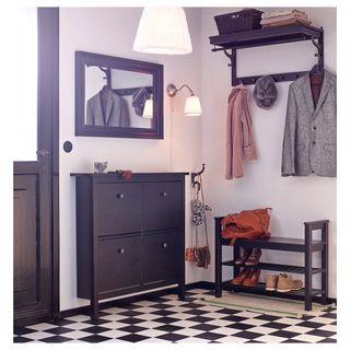 Zapatero Ikea negro marrón 4 compartimentos Hemnes