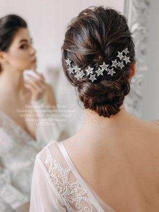 Tiara de estrellas tocado novia invitada Diadema