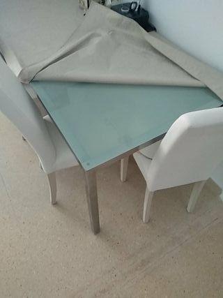 mesa comedor cristal y acero
