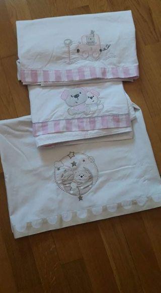 sábanas cuna / conjunto de sábanas cunas LOTE