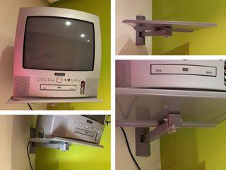 Televisor combi DVD con mando y soporte.
