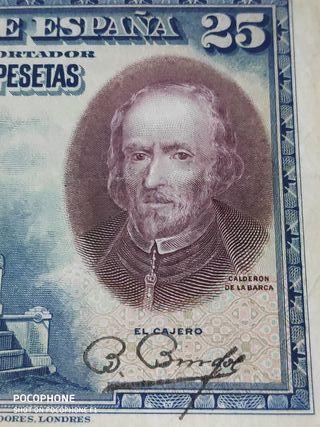 Difícil billete 25 pesetas 1928 Sin serie