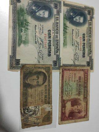 Lote 4 billetes antiguos España