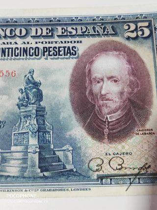Bonito billete 25 pesetas 1928 Rara serie A