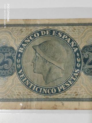 Difícil billete 25 pesetas 1936 Burgos