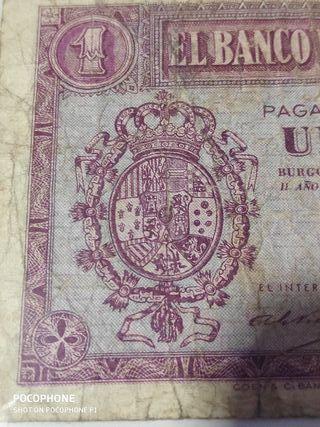Difícil billete 1 peseta 1937 Rojita