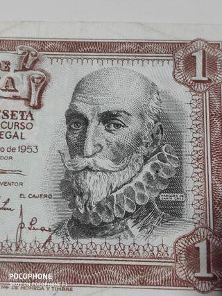 Bonito billete 1 peseta 1953 Marqués de Santa Cruz