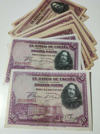 Lote 12 billetes 50 pesetas 1928 Velázquez