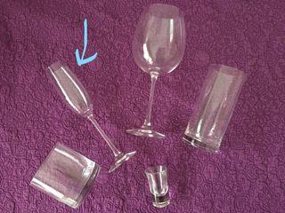 6 copas de cava de cristal de Bohemia