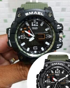 Reloj militar analógico verde pulsera hombre