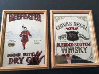 2 ESPEJOS BEEFEATER CHIVAS REGAL BAR PUB RETRO
