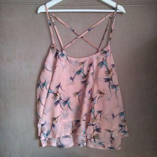 Blusa rosa estampado pájaros, talla L