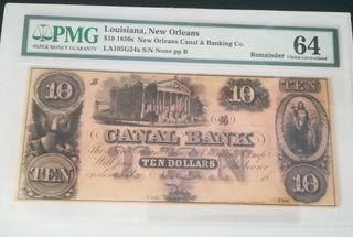 billete de 10 dólares 1850 PMG