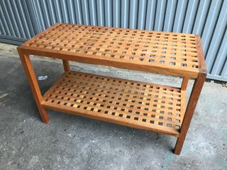 mesa auxiliar ikea madera terraza