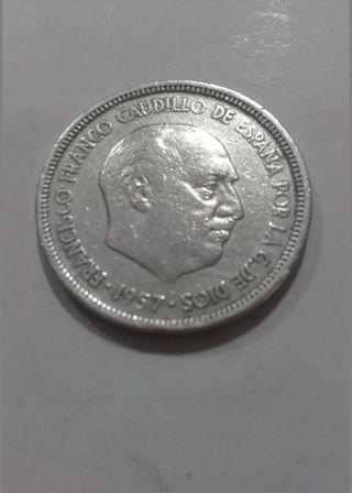 MONEDA DE 5 PTS 1957 DE FRANCO