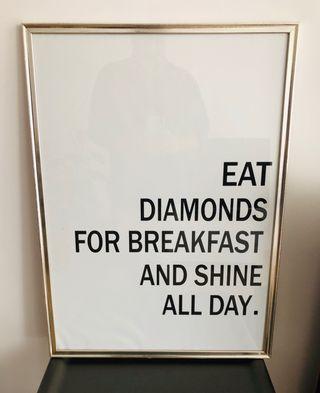 Cuadro frase EAT DIAMONS FOR BREAKFAST 70x40